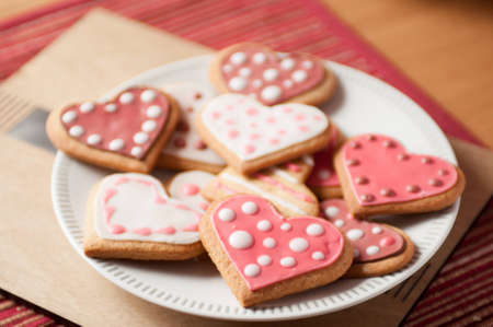 Beautiful Pink and White Spotty Heart Cookies and Biscuits photo