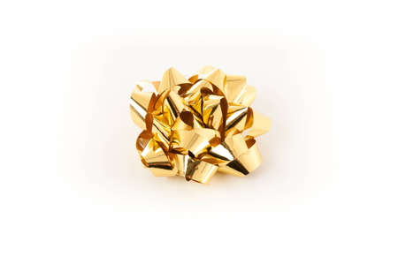 Golden Shiny Christmas Bow for sticking onto presents photo