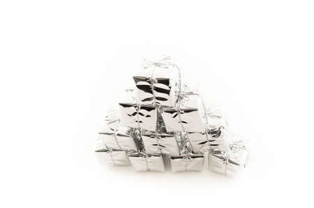 Pile of silver Christmas or Birthday Presents photo