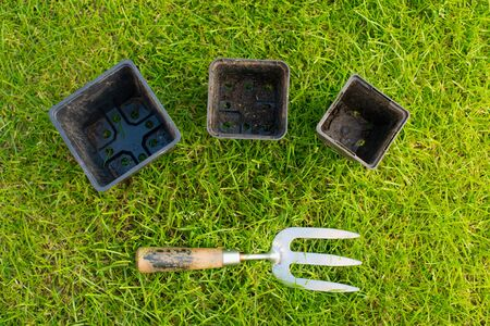 Worn metal and wooden garden hand fork and three black plastic plant pots on some green grass photo