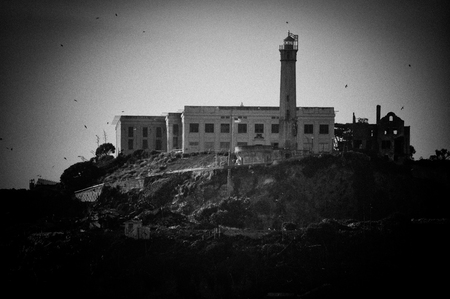 Moody and Black and White Alcatraz in San Francisco