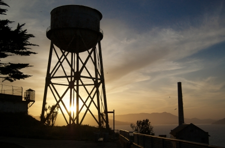 Photograph of the watertower on Alcatraz island in San Francisco Bay. photo