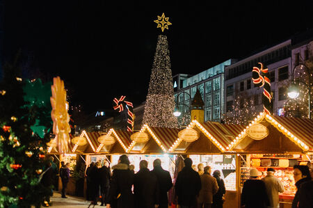 Beautiful lit up Christmas Market at Night in Germany