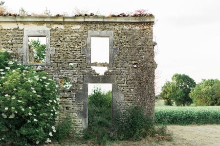 Old ruined building at Sunset in the European Countryside Stock Photo