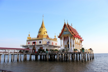 temple of thailand in sea photo