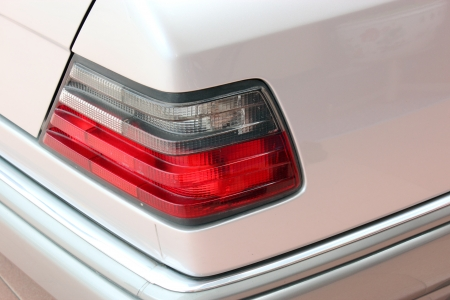 Closeup of the tail light of a car photo