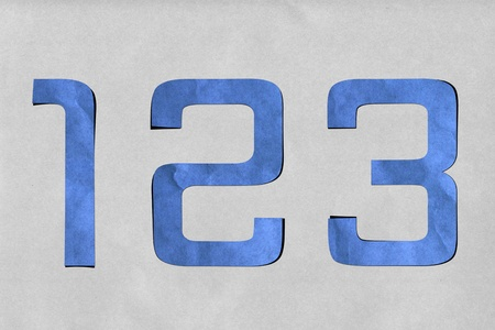 number recycled paper craft stick on background  1 2 3  photo
