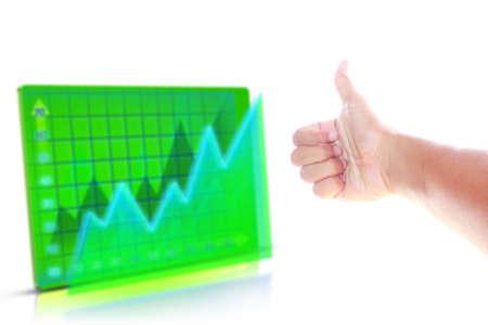 Business man hand graph photo