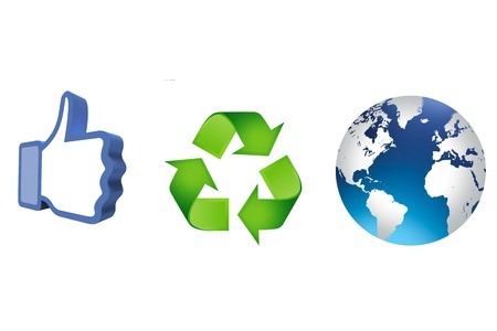 thumb up recycling arrows and blue earth Stock Photo - 14684262