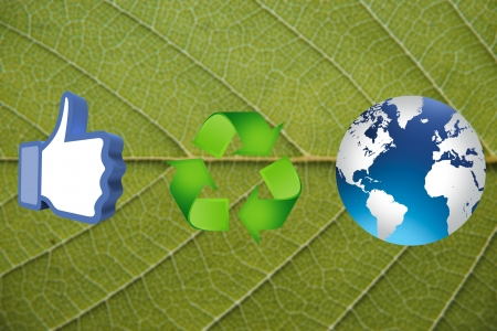thumb up recycling arrows and blue earth Stock Photo - 14684275