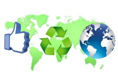thumb up recycling arrows and blue earth Stock Photo - 14684263