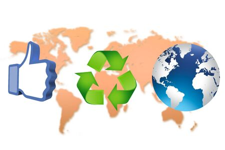 thumb up recycling arrows and blue earth Stock Photo - 14684265