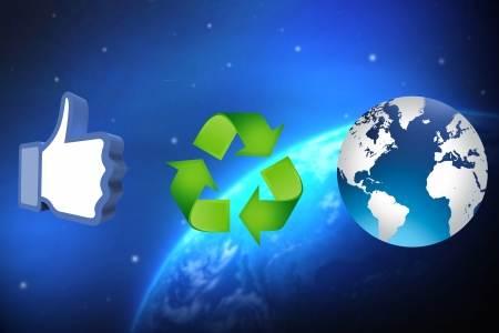 thumb up recycling arrows and blue earth Stock Photo - 14684270