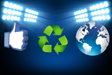 thumb up recycling arrows and blue earth Stock Photo - 14684272