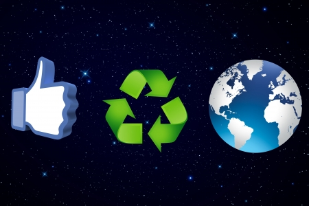 thumb up recycling arrows and blue earth Stock Photo - 14684268