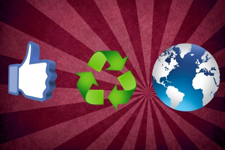 thumb up recycling arrows and blue earth Stock Photo - 14684280