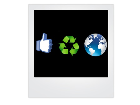 thumb up recycling arrows and blue earth Stock Photo - 14684261