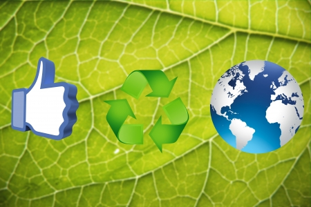 thumb up recycling arrows and blue earth photo