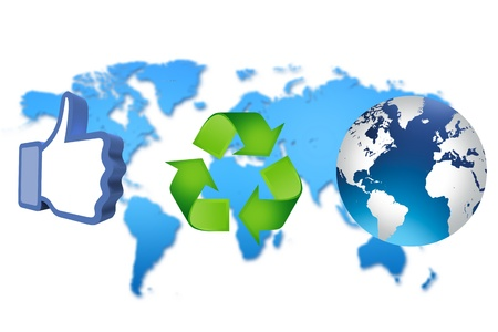 thumb up recycling arrows and blue earth Stock Photo - 14684264