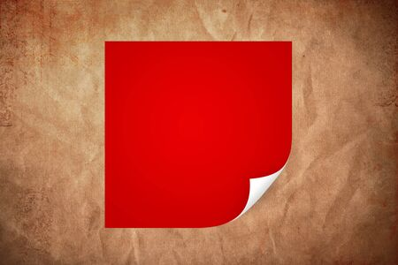 peeled: Red paper with curled corner