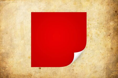 peeled: Red paper with curled corner  Stock Photo