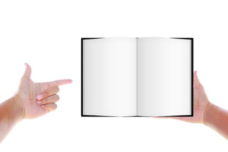 double page spread: Hands holding book Stock Photo