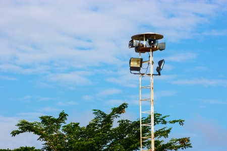 Loudspeaker in Thai temple Bangkok In Thailand photo