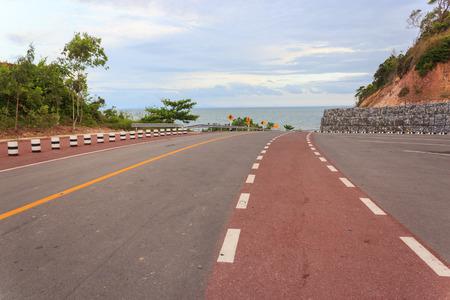 Coastal road sea at Khung Viman bay, Chanthaburi, Thailand Stock Photo