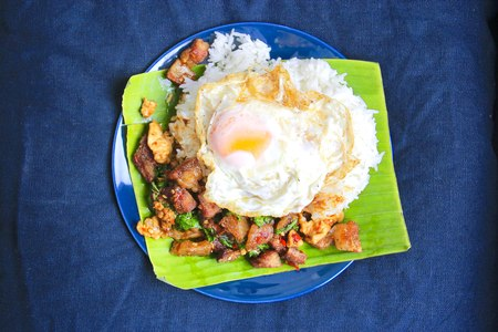 Basil Pork with Egg Stock Photo