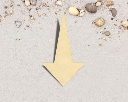 Down arrow on the background
