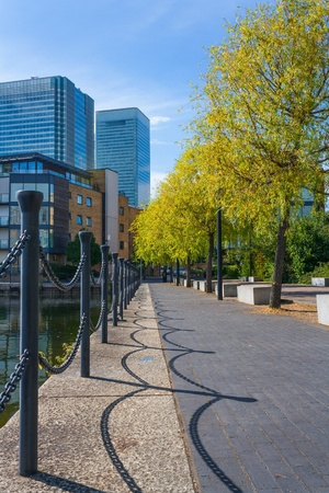 docklands: london docklands scene uk Stock Photo