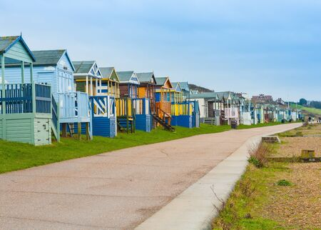 Beach huts on Kent coastline Stock Photo
