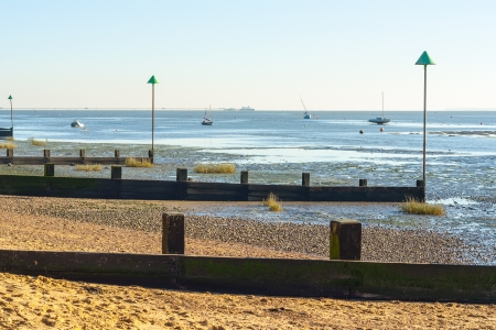 low tide at Leigh on sea essex uk