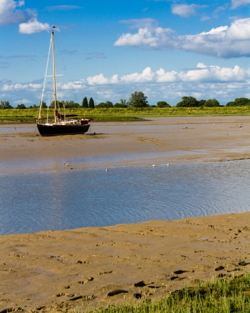 sailboat at low tide