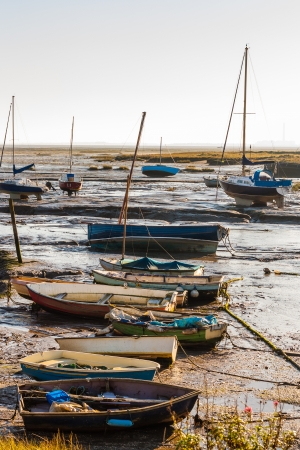 Leigh boats at low tide Stock Photo