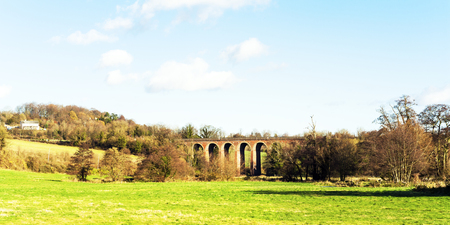 english countryside landscape kent uk Eynsford viaduct Stock Photo