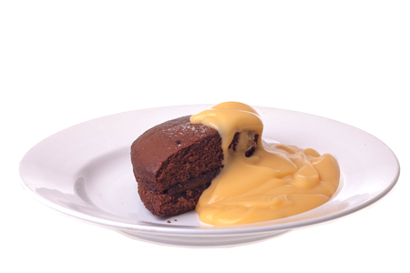 chocolate sponge cake and custard