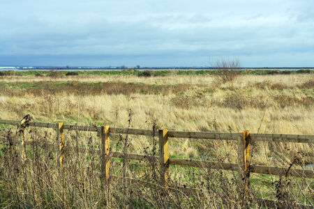 open field to thames estuary Stock Photo