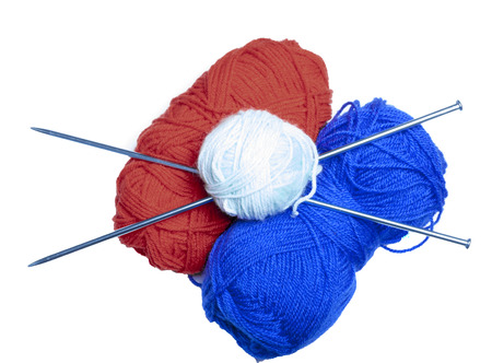 red and blue wool Stock Photo