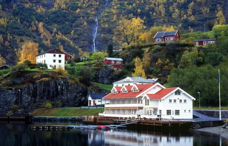 Quiet village of Flam, Norway Stock Photo