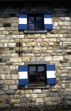 Cottage windows Stock Photo