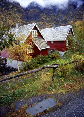 Village of Flam, Norway Stock Photo