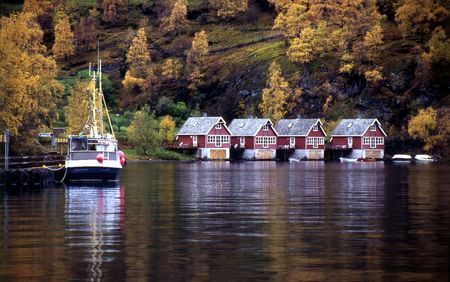 Village of Flam, Norway Stock Photo
