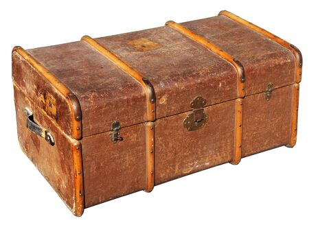 cash box: The old chest, used to transport clothes on long journeys Stock Photo