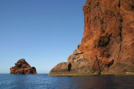 Het natuurreservaat van Scandola in het noorden van Corsica Stockfoto - 13664743