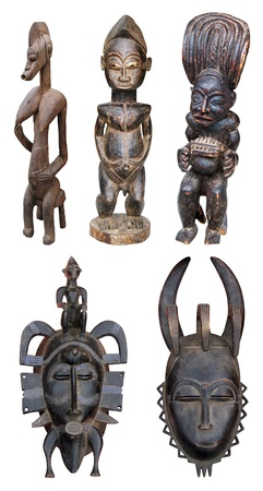 Original, handmade African sculptures and masks Stock Photo