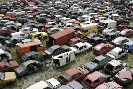Car scrap, scrap metal, recycling photo