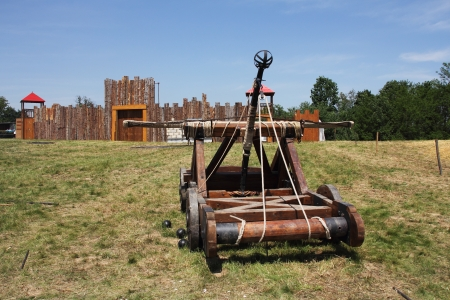 Wooden catapult that was used during the Middle Ages photo