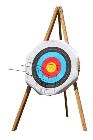 Tiro con l'arco degli obiettivi di paglia su uno sfondo bianco Archivio Fotografico