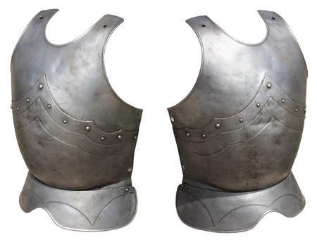 Metal armor medieval knight on a white background